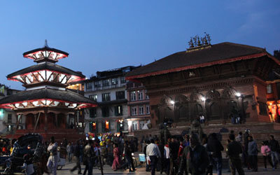 Durbar Square in Kathmandu at night. Tours in Nepal, Bhutan, Tibet and more from High Asia Tours